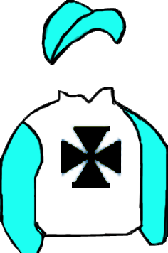 WHITE, BLACK MALTESE CROSS, LIGHT BLUE SLEEVES & CAP