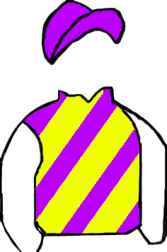 PURPLE & YELLOW DIAGONAL STRIPES, WHITE SLEEVES, PURPLE CAP