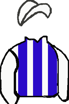 ROYAL BLUE & WHITE STRIPES, ROYAL BLUE BIB, WHITE SLEEVES & CAP