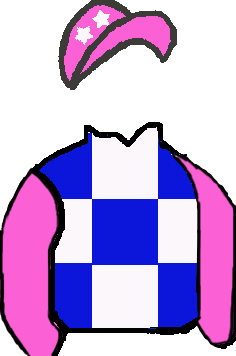 ROYAL BLUE & WHITE SQUARES, PINK SLEEVES, WHITE STARS ON PINK CAP