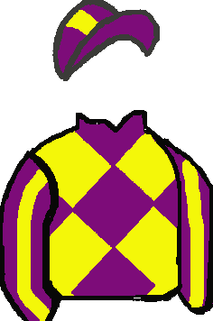 PURPLE & YELLOW DIAMONDS, PURPLE & WHITE STRIPED SLEEVES, PURPLE & WHITE STRIPED CAP