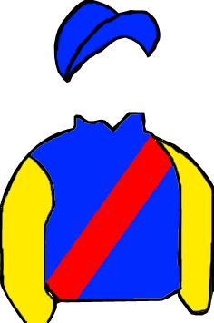 ROYAL BLUE, RED SASH, YELLOW SLEEVES