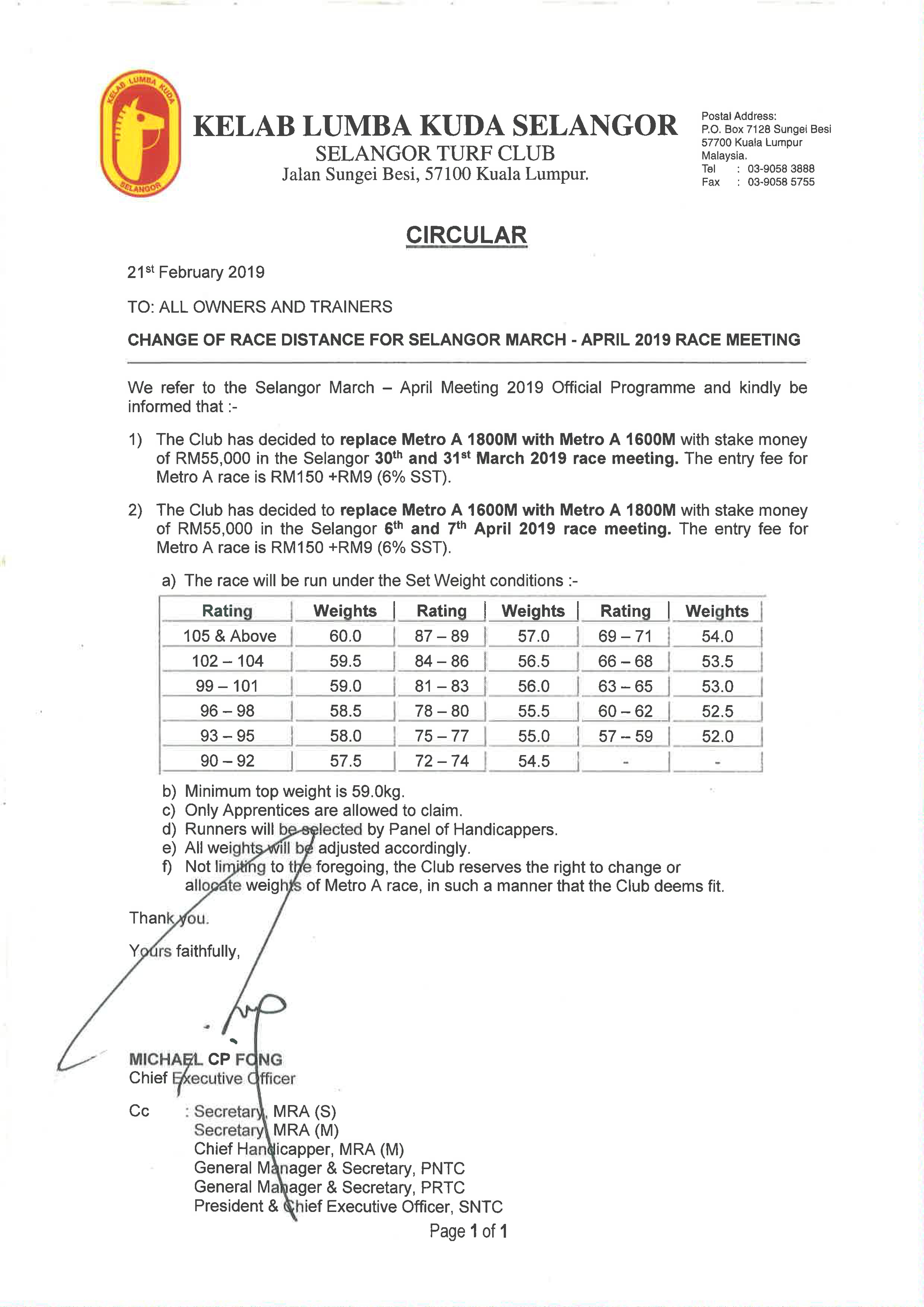 Page1 | Selangor Turf Club